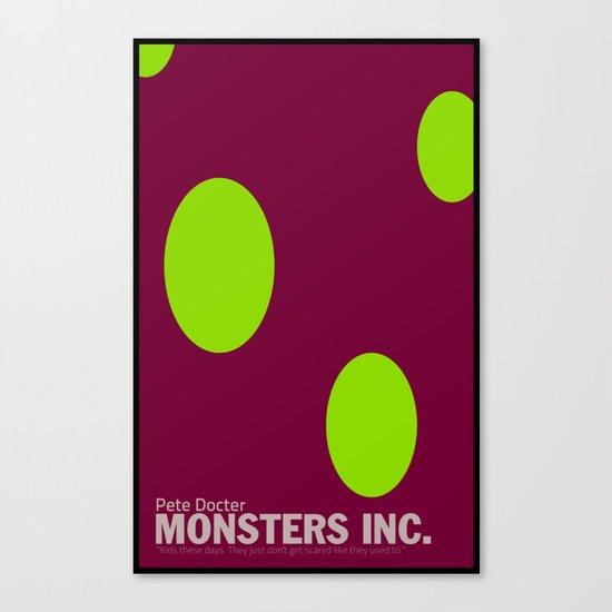Monsters Inc.   Minimal Movie Poster Canvas Print