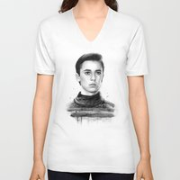 wesley bird V-neck T-shirts featuring Wesley by Olechka