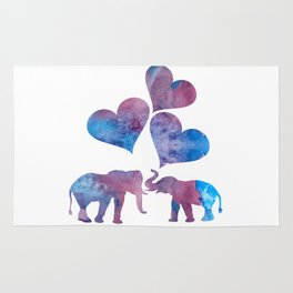 Elephants art Rug