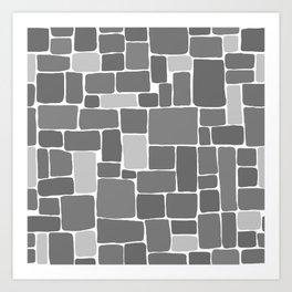 Grey Blocks Art Print