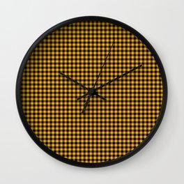 Mini Goldenrod Yellow and Black Rustic Cowboy Cabin Buffalo Check Wall Clock