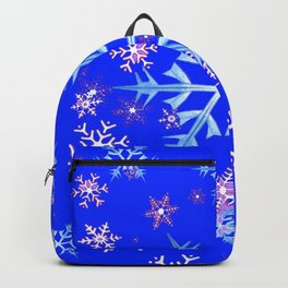 DECORATIVE BLUE  & WHITE SNOWFLAKES PATTERNED ART Backpack