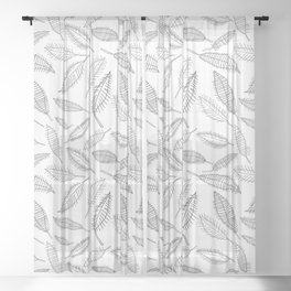 Feather Leaves in Black White Sheer Curtain