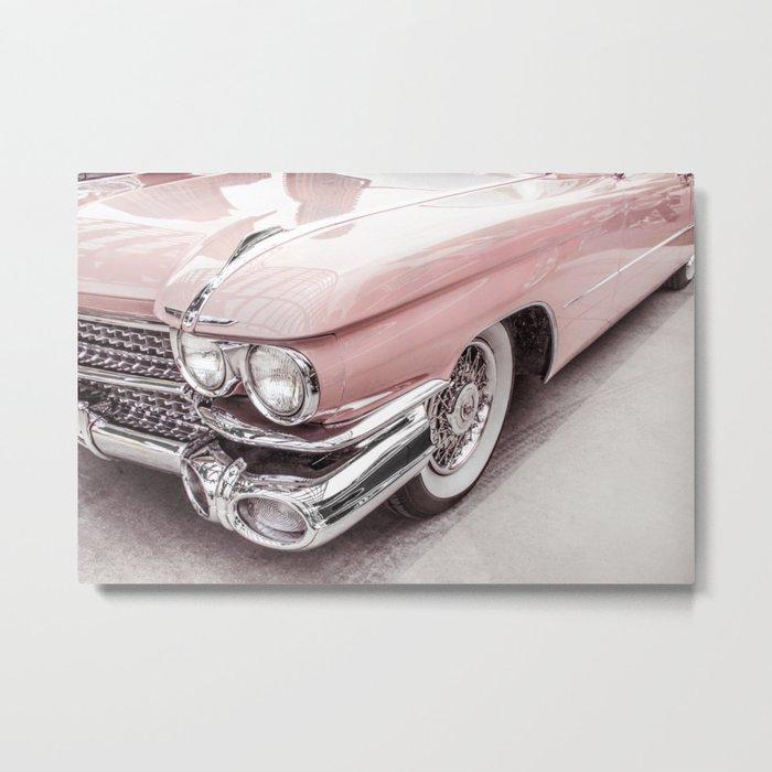Blush Pink Vintage Car Metal Print