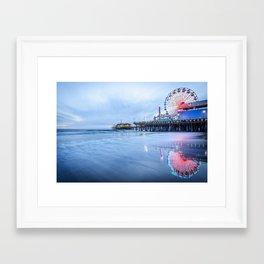 SANTA MONICA PIER OCEAN SUNSET LOS ANGELES CALIFORNIA Framed Art Print