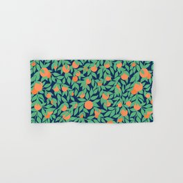 Oranges and Leaves Pattern - Navy Blue Hand & Bath Towel