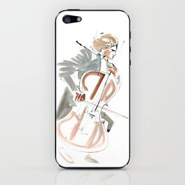 Cello Player Musician Expressive Drawing iPhone Skin