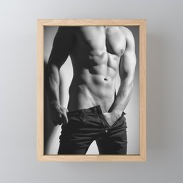 Photograph of a sexy man in Jeans #E9981 Framed Mini Art Print