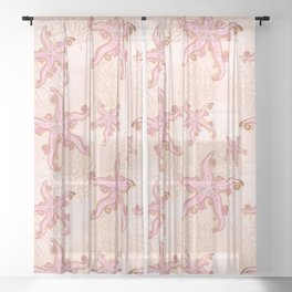 Starfish and Coral Pink Pastel Pattern Sheer Curtain