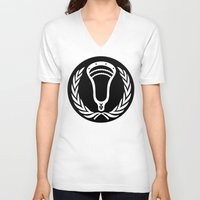 lacrosse V-neck T-shirts featuring Lacrosse Victory Wreath Roundel Black by YouGotThat.com