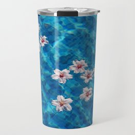 Almond blossom floating in swimming pool Travel Mug