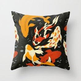 Koi in Black Water Throw Pillow