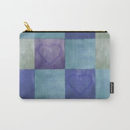 Blue Tiles with Hearts Carry-All Pouch