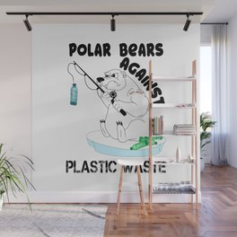 Polar Bear Plastic Waste Gift Wall Mural