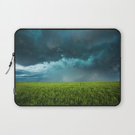 April Showers - Colorful Stormy Sky Over Lush Field in Kansas Laptop Sleeve