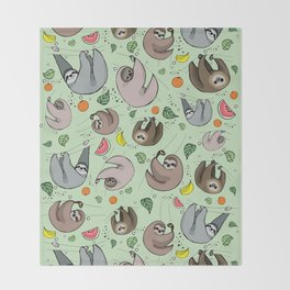 Sloth Party Throw Blanket