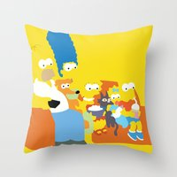 simpsons Throw Pillows featuring The Simpsons - Family by TracingHorses