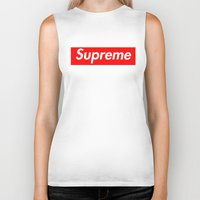 supreme Biker Tanks featuring Supreme Red by Jason Vaughan