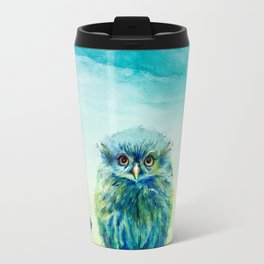 """Fiji"" Baby Owl Painting ~ Garden of the Wild Series Travel Mug"