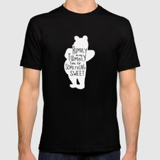 Rumbly in my Tumbly Time for Something Sweet - Winnie the Pooh inspired Print Black MEDIUM Mens Fitted Tee
