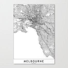 Melbourne White Map Canvas Print