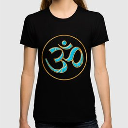 OM Jewelry Design In Gold And Turquoise T-shirt