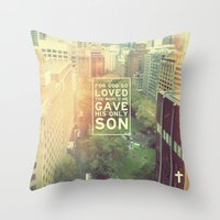 "pocketfuel Throw Pillows featuring John 3:16 ""For God so loved the world"" (Version 2) by Pocket Fuel"