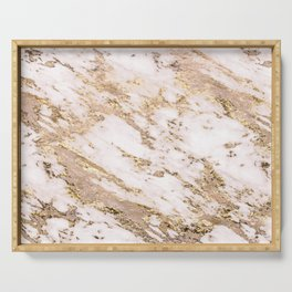 Golden smudge - blush marble Serving Tray