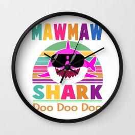 Mawmaw Shark Gift Doo Doo Doo T-Shirt Wall Clock