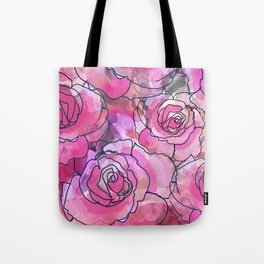 Pink Watercolor Roses Tote Bag