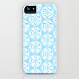 Shiny light blue winter star snowflakes pattern iPhone Case