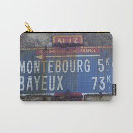 "Vintage Road Sign Touring club de France ""Bayeux - Montebourg"" Normandy Carry-All Pouch"