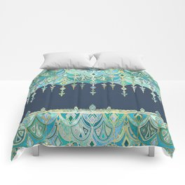 Art Deco Double Drop in Blues and Greens Comforters