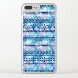Christmas ornament. Blue, white pattern on a blue background. Clear iPhone Case