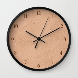 Beige wrinkled leather cloth texture abstract Wall Clock