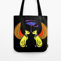 egyptian Tote Bags featuring Egyptian Cats by waggytailspetportraits