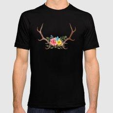 Floral Antlers MEDIUM Mens Fitted Tee Black