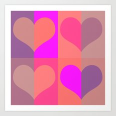 70's hearts Art Print