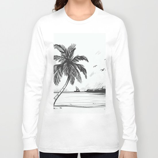 Beach graphic sketch art Long Sleeve T-shirt