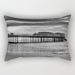 Cromer Pier in black and white Rectangular Pillow