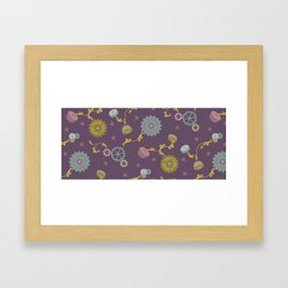 Industrial Suzani in purple Framed Art Print