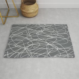 Hand Drawn Scribbles (Charcoal Grey) Rug