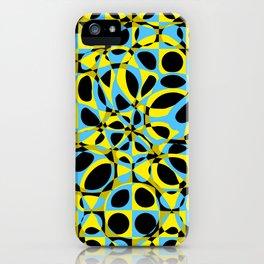 yellow blue circle pattern iPhone Case