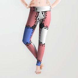 Vintage Style Quilt - Red, Blue, White - Doodle Art Leggings