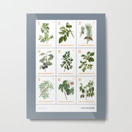 The Botanical Series - Sheet of nine stamps on grey (Issue 20-025) Metal Print