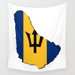 Barbados Map with Barbadian Flag Wall Tapestry