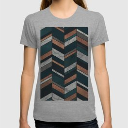 Abstract Chevron Pattern - Copper, Marble, and Blue Concrete T-shirt