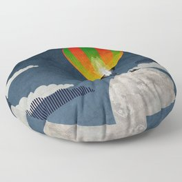 Picnic in a Balloon on the Moon Floor Pillow