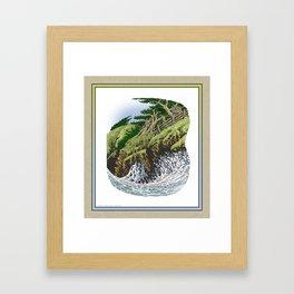 CYPRESS TREES AND BIG WAVE OF NORTHERN CALIFORNIA COAST Framed Art Print