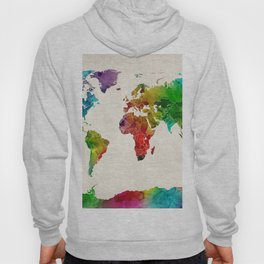 Watercolor Map of the World Map Hoody